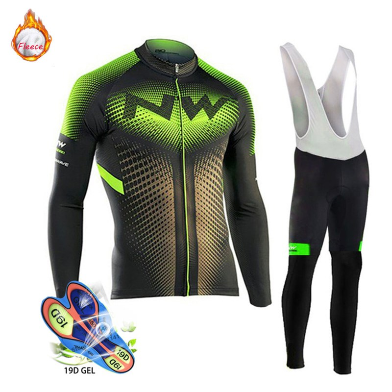 2019 Northwave Winter Thermal Fleece Cycling Clothes Men's Jersey Suit Sport Riding Bike MTB Clothing Bib Pants Warm Sets NW