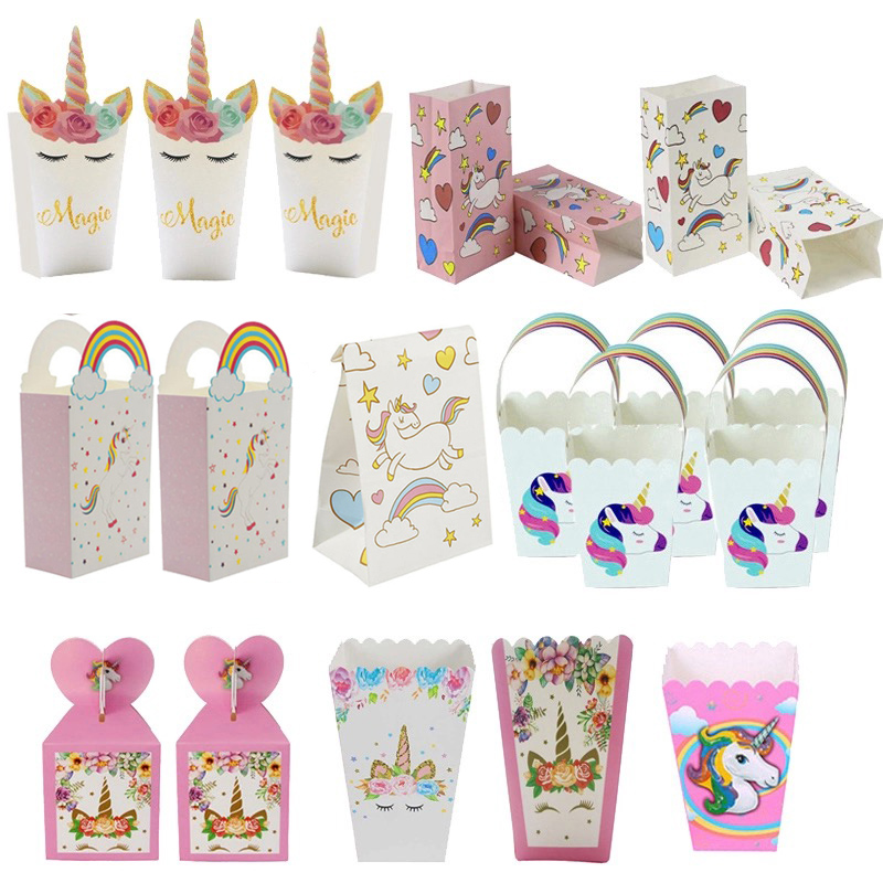 Unicorn Party Paper Popcorn Box Gift Box Candy Cookies Bags 1st Kids Birthday Party Decorations Gift Bags Baby Shower Supplies