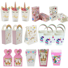 Cookies-Bag Paper-Box Shower-Deco Unicorn Gift Birthday-Party-Decorations Candy Baby