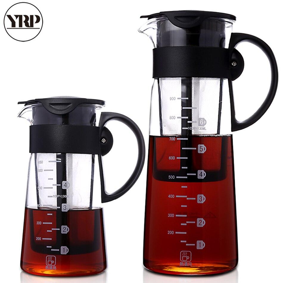 Portable Hot/cold brew Dual use filter Coffee&Tea Pot Espresso Ice Drip Maker glass Percolators kitchen accessories barista tool