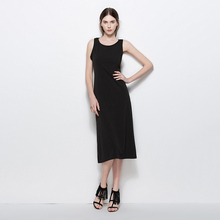 Summer Solid Sleeveless Sexy Vest Dress Black Cotton O-Neck Simple Women Casual Knee-Length Display Slim S M L XL XXL 5393