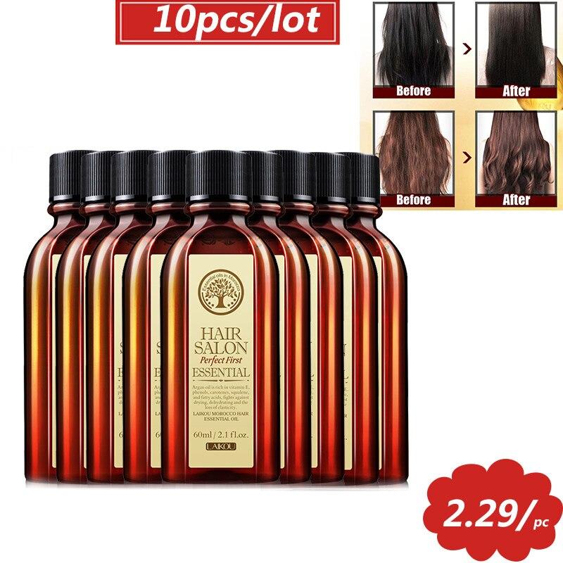 5 предметов в лоте, 10 шт. 60 мл Уход за волосами марокканские Аргана масло для ухода за волосами с эфирным маслом для сухих волос типов мульти-ф...