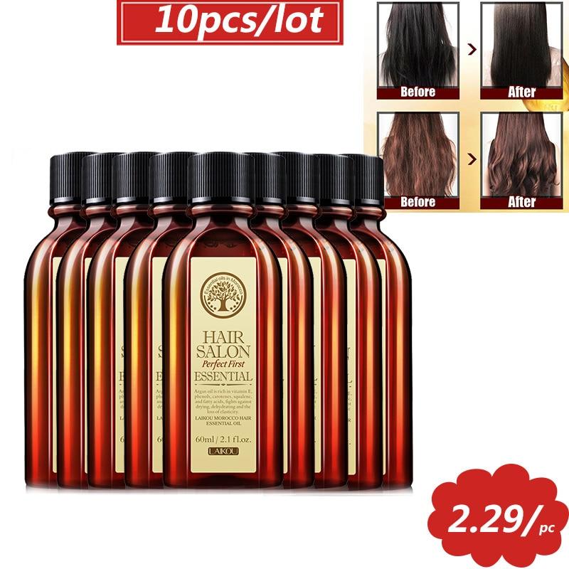 5pcs 10pcs 60ml cuidado do cabelo oleo de argan marroquino puro oleo essencial de cabelo para