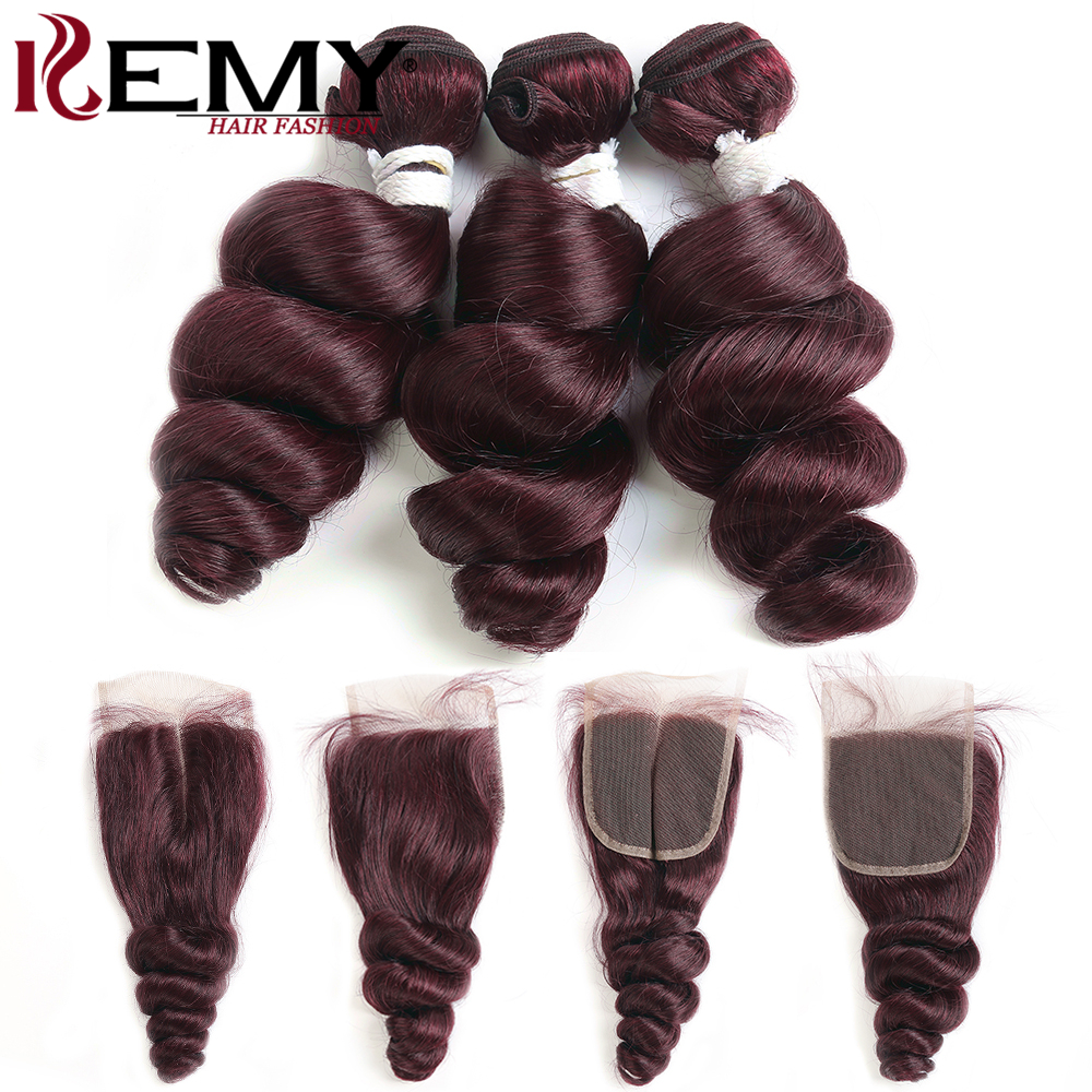 99J/Burgundy Human Hair Bundles With Closure 4x4 Loose Wave Brazilian Hair Weave Bundles With Closure Non-Remy Hair Weft KEMY