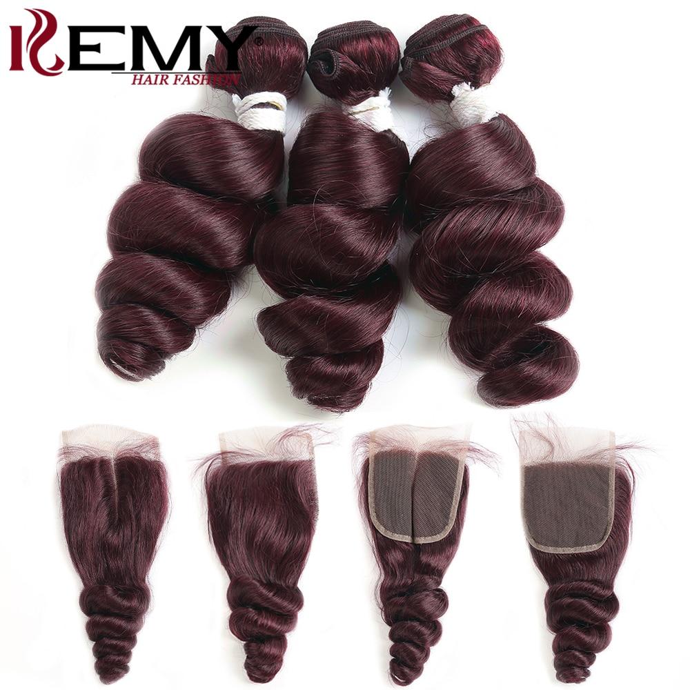 99J/Burgundy Human Hair Bundles With Closure 4x4 Loose Wave Brazilian Hair Weave Bundles With Closure Non-Remy Hair Weft KEMY