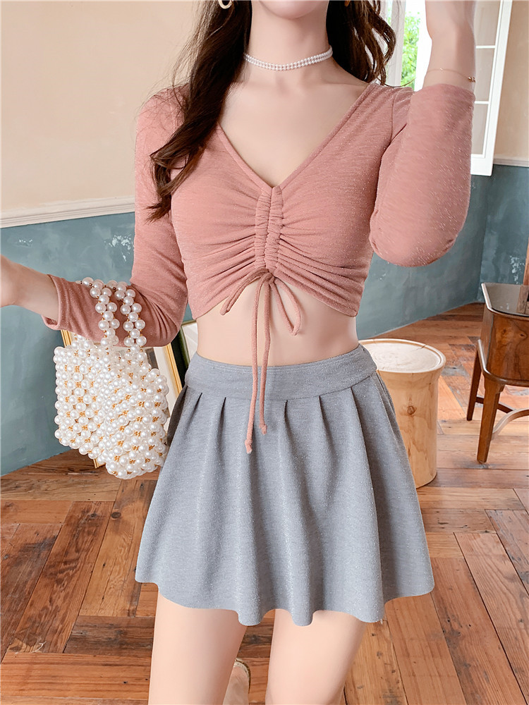 Long Sleeve Solid Color Crop Top Beachwear High Waist Bottom Swimdress With Boyshorts Women Three Pieces Tankini Set