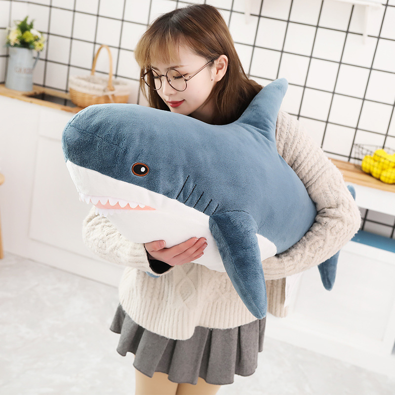 1pc 80-140cm Big Size Funny Soft Bite Shark Plush Toy Stuffed Cute Animal Reading Pillow Appease Cushion Gift For Children