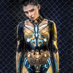 Golden Robot Nightclub Costume Sexy Tights Sci-Fi Party Costumes Futuristic Sense Of Technology 3D Printed Armor Suit DWY3818