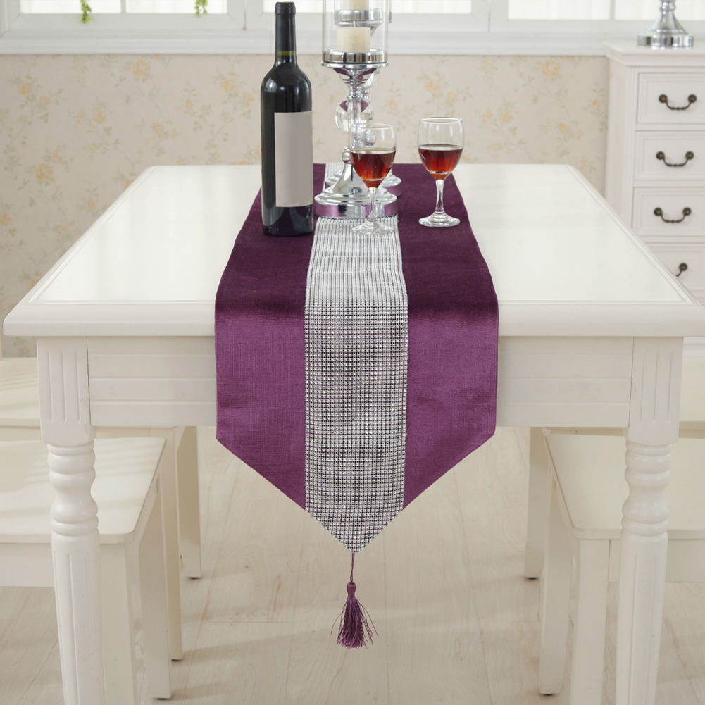 32*180cm/12.6*70.9inch Modern Table Runner Flannel Rhinestones Wedding Chirstmas Cake  Floral Decor Table Runner Craftss
