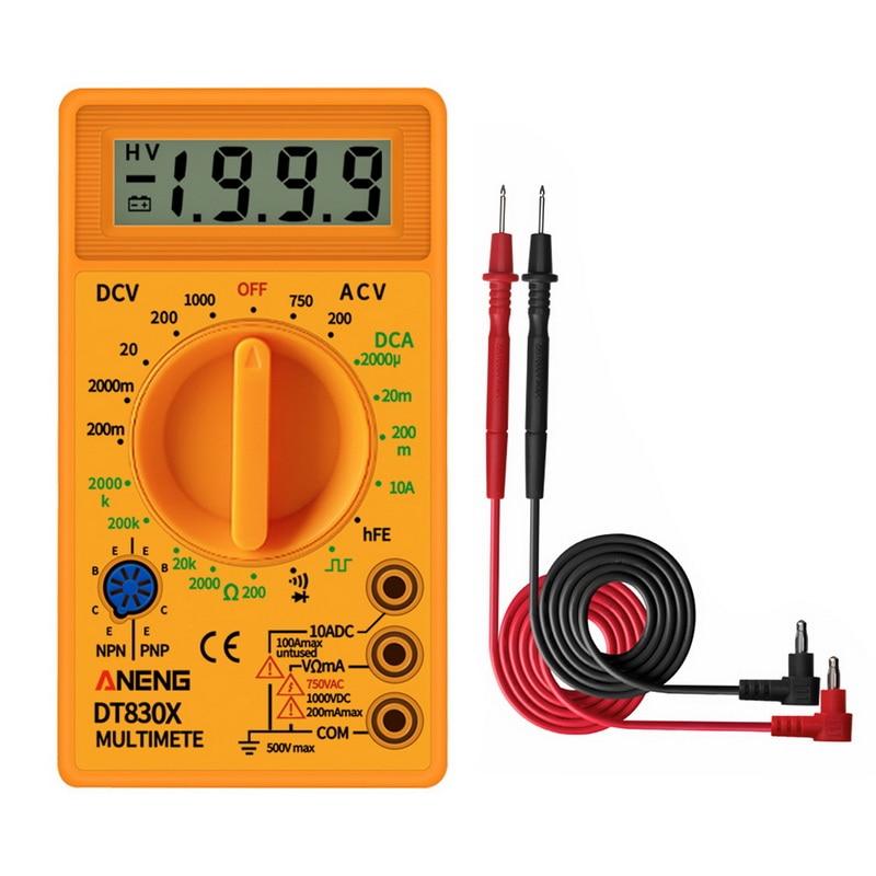 LCD Digital DT830B Multimeter Yellow  Voltmeter Ohmmeter Ammeter Multimeter Handheld Tester DT830B AC DC Home Tester