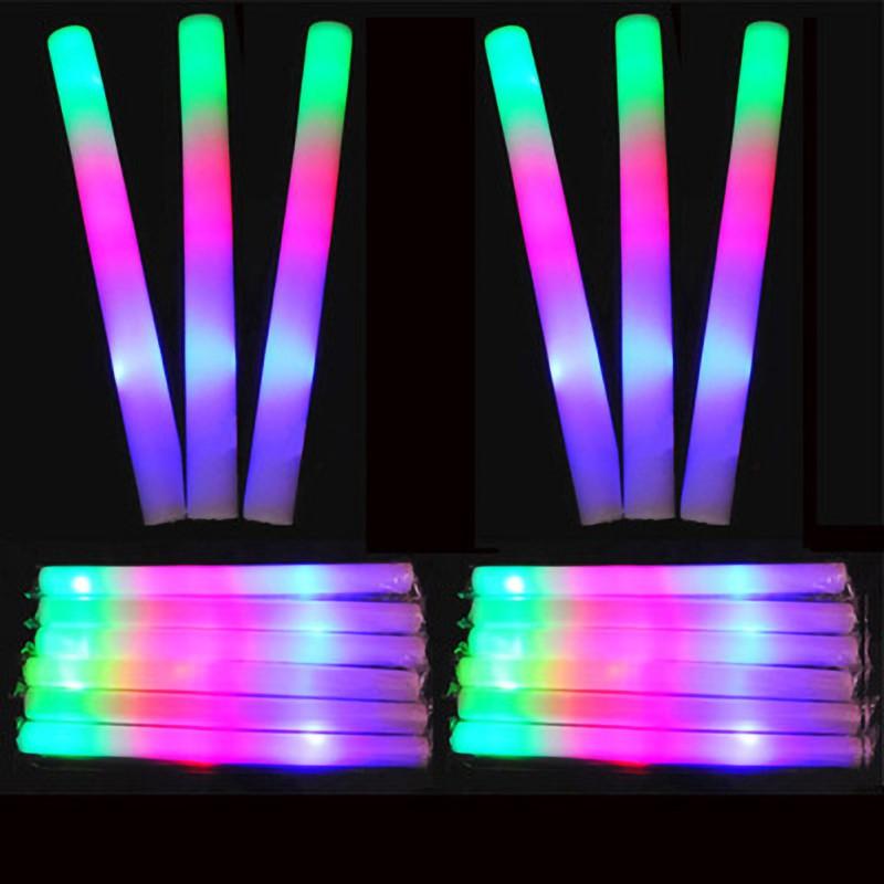 12Pcs Set Colorful Party Foam Baton LED Light Stick Rally Flashing Light DJ Glow Wand Concert Large Light Stick Flash Stick in Glow Party Supplies from Home Garden