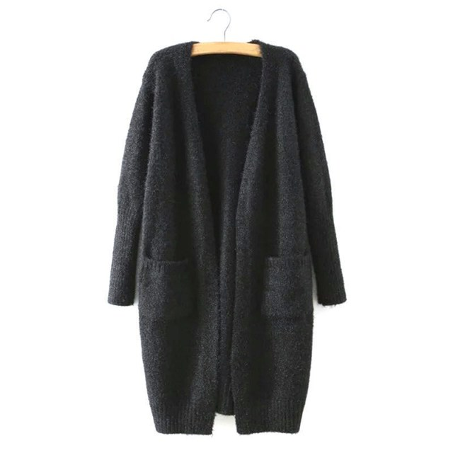 Winter Long Sleeve Knitted Cardigan Women Fluffy Sweater Pocket Outwear Coat Jacket Ladies Basic Sweater Black 6