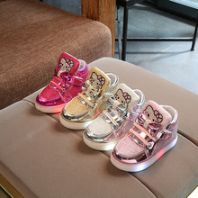 Girls sports shoes With With LED Light Fashion Cartoon Child