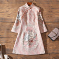 2021 spring new style dignified atmosphere retro young Chinese style jacquard embroidery improved cheongsam dress women