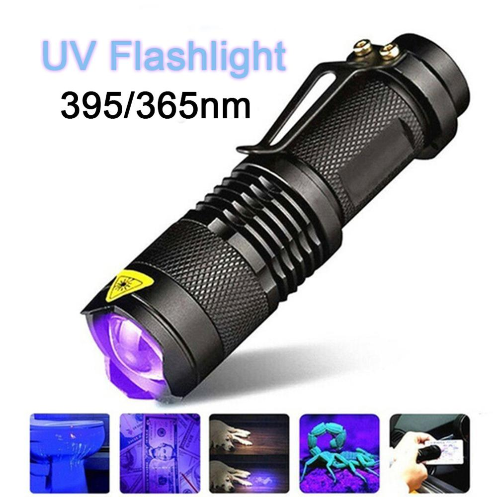 LED UV Flashlight Ultraviolet Torch With Zoom Function 365/395 Nm Mini UV Black Light Pet Urine Stains Detector Field Hunting 15