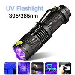 LED UV Flashlight Ultraviolet Torch With Zoom Function 365/395nm Mini UV Black Light Pet Urine Stains Detector Field Hunting L35