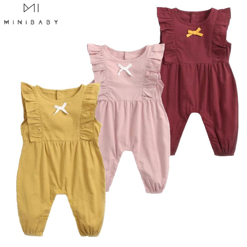 Summer New Arrival Baby Girls Costume Baby Candy Color Sleeveless O-neck Pure Cotton Lace Cute Rompers Kids Girls Jumpsuits 1pc