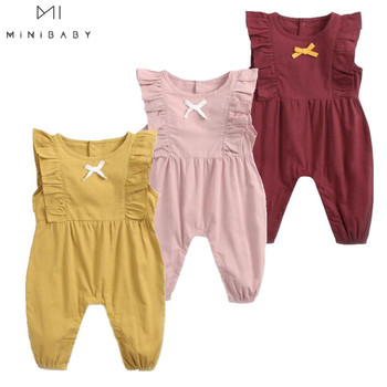 Summer New Arrival Baby Girls Costume Candy Color Sleeveless O-neck Pure Cotton Lace Cute Rompers Kids Jumpsuits 1pc