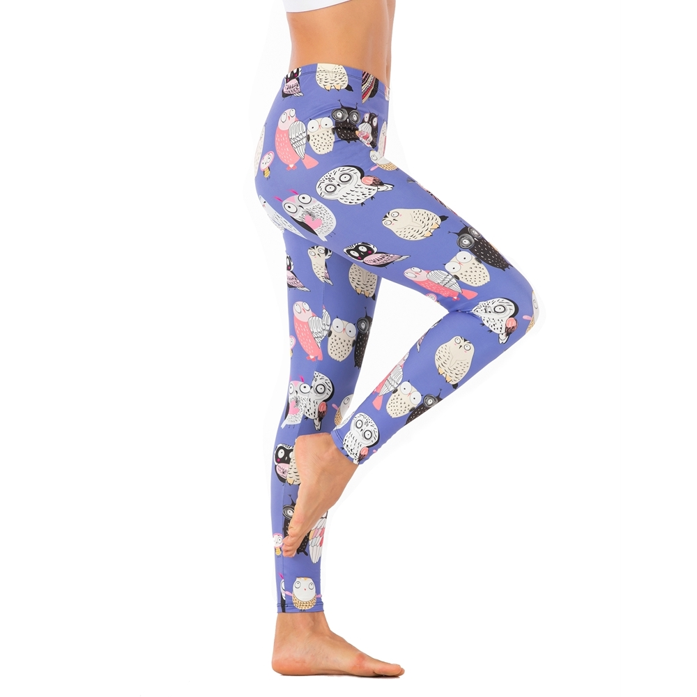 Brands Women Fashion Legging Purple Cartoon Owl Printing Leggins Sexy Slim Legins High Waist Leggings Woman Fitness Pants