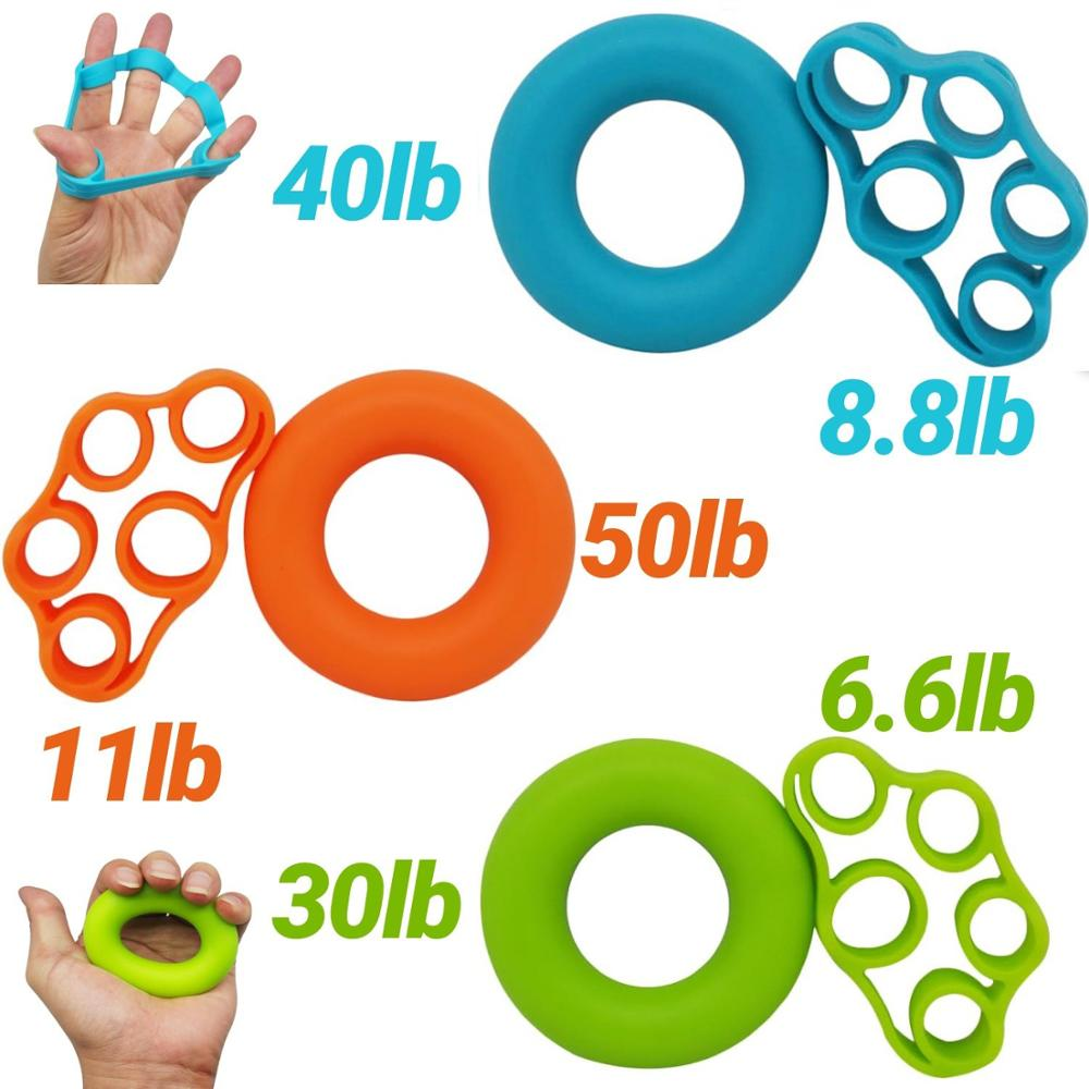 2pcs/set Finger Stretcher Silicone Hand Grip Strengthener Finger Resistance Bands Hand Extensor Exercise Strength Trainer Set