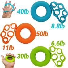 Faixa de alongamento de mão em silicone, treinador de força para exercício e resistência ao dedo, 2 pçs/set