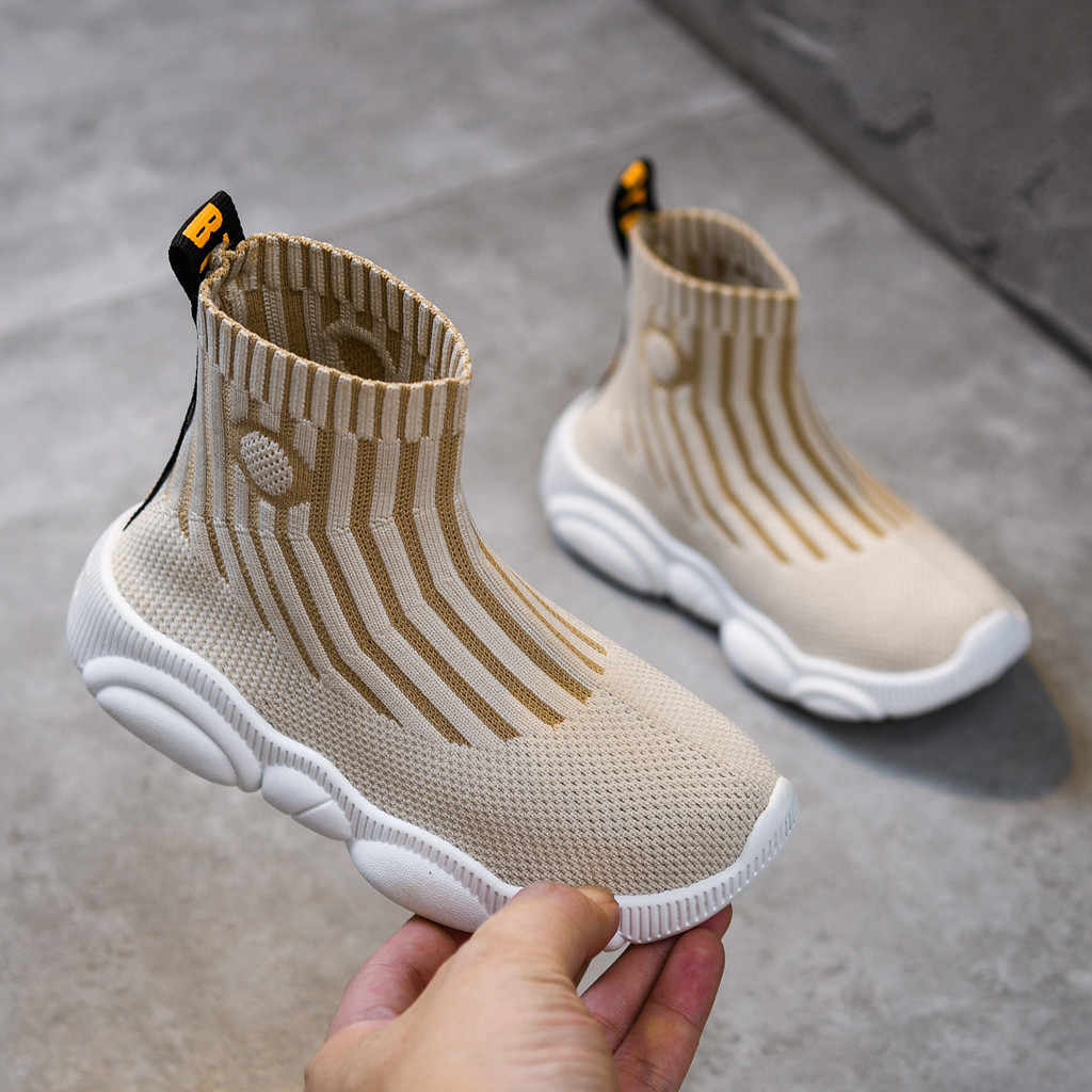2019 Girls Boys Boots High Top Mesh Sock Sneakers Casual Fashion Trainers Sports Shoes Children School Slip-On Brand Flats Shoes