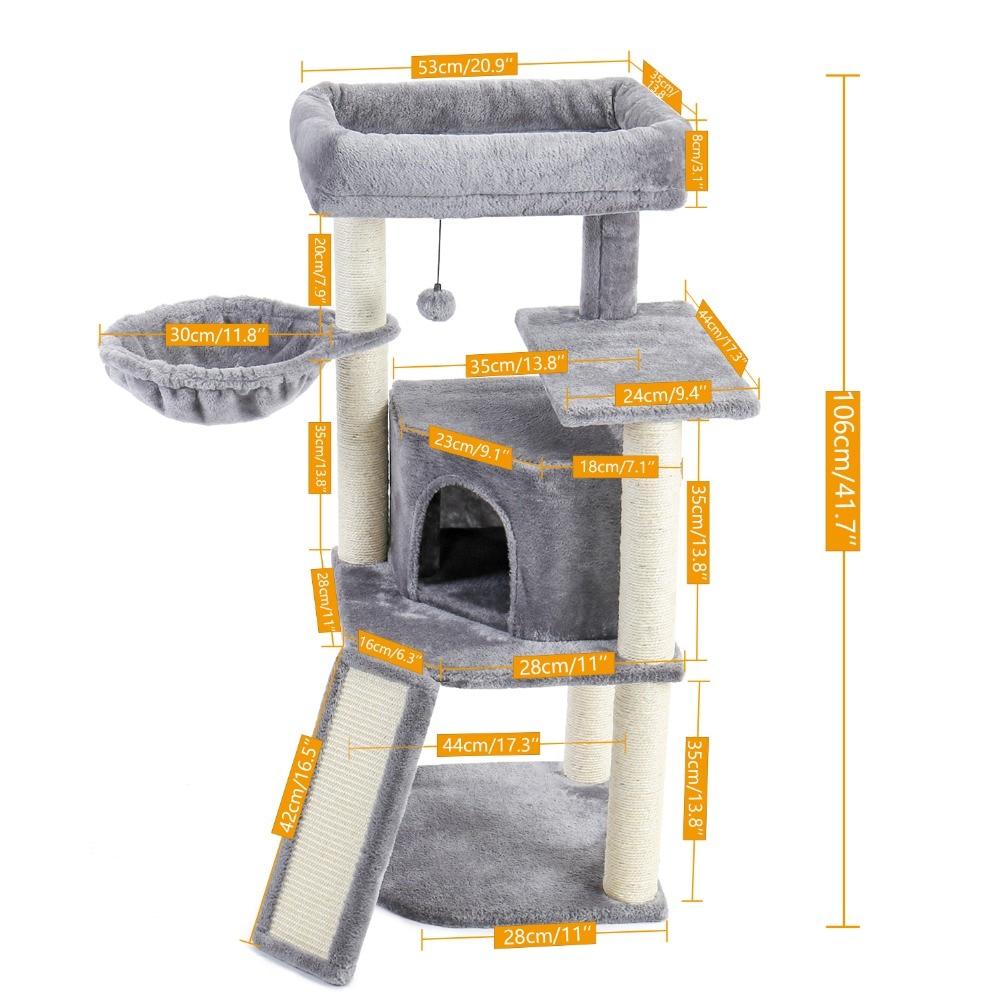 Tour d'escalade pour chat avec poteau pour les griffes