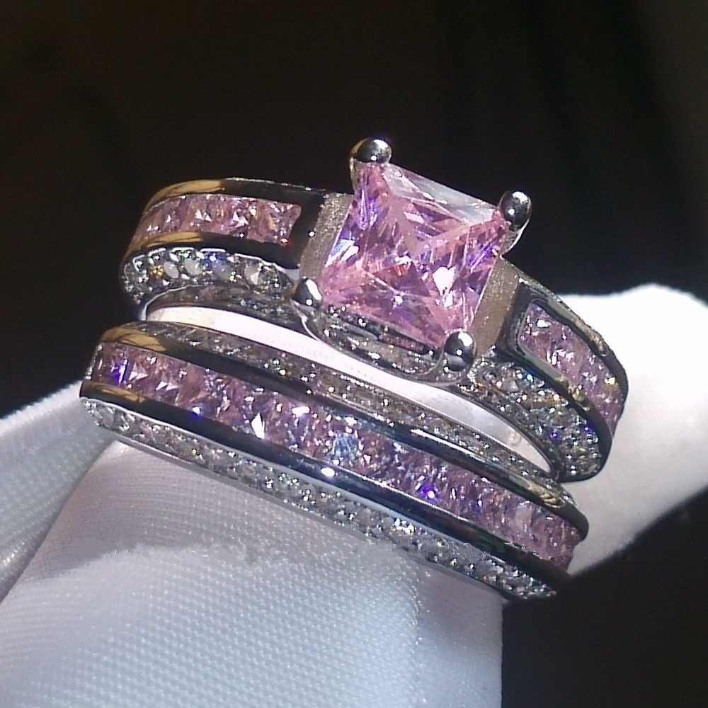 FDLK   Fabulous Alloy Vintage Rings Set Princess Color Pink Blue White Crystal Jewelry Birthday Promise Anniversary