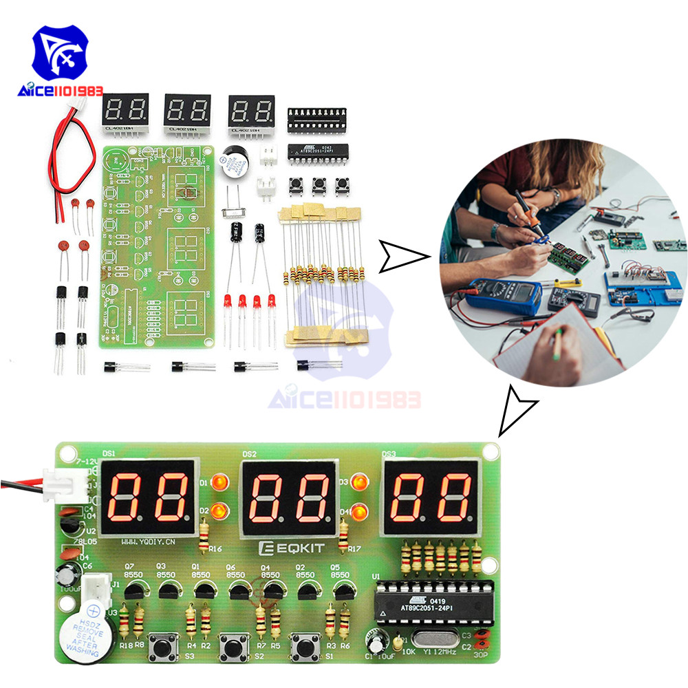 Diymore Digital Clock DIY Kit 6Bits C51 AT89C2051 Chip Electronic Alarm Clock Kit FR-4 PCB Board Soldering Practice For Arduino