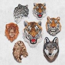 Leopardo tigre leão lobo bordado ferro em remendos para a roupa applique diy chapéu casaco acessórios vestido pano adesivo animal