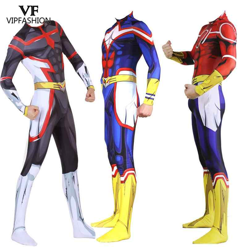 VIP FASHION Anime My Hero Academia All Might Cosplay Costume Spandex Zentai Bodysuit Suit Jumpsuits Halloween For Adults