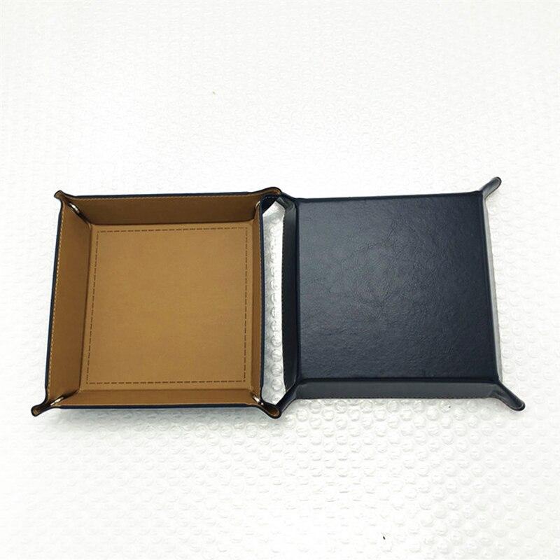 Складная коробка для хранения из искусственной кожи, квадратный поднос для настольной игры в кости, кошелек для ключей, коробка для монет, поднос, настольная коробка для хранения, лотки, Декор - Цвет: A-7