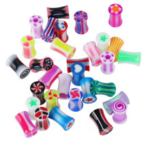 New 5PCS/Lot Acrylic Random Mixed Color Colorful Sweet Candy Auricle Body Piercing  Jewelry Tunnel And Plug Guage Earring Gift