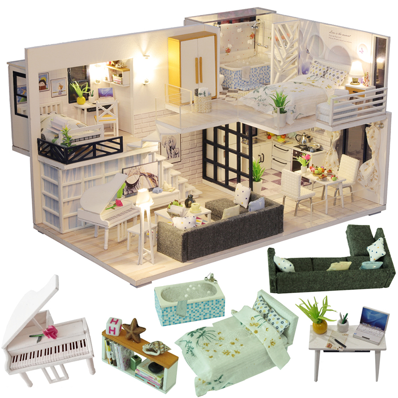 Cutebee DIY House Miniature With Furniture LED Music Dust Cover Model Building Blocks Toys For Children Casa De Boneca M21