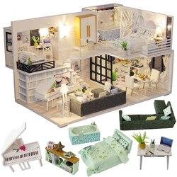 Cutebee diy casa em miniatura com móveis led música poeira capa modelo blocos de construção brinquedos para crianças casa de boneca m21