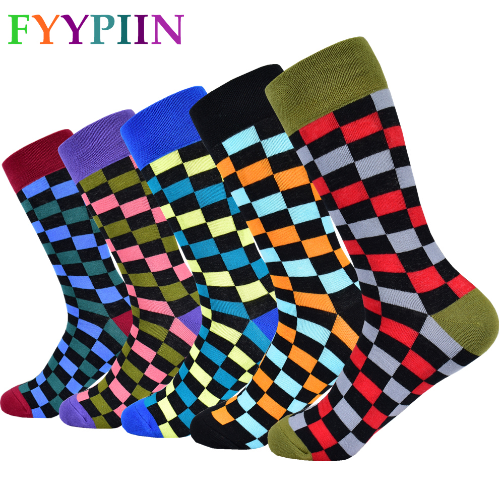 2020 Men's Classic Socks New Cotton Socks Color Plaid Dress Socks Men