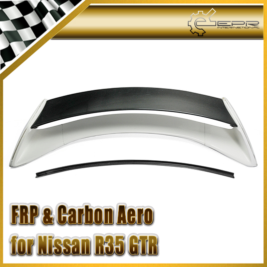 For Nissan <font><b>R35</b></font> <font><b>GTR</b></font> Portion Carbon Fiber Aumse Style <font><b>Rear</b></font> <font><b>Spoiler</b></font> FRP Fiberglass AM Trunk Wing Boot Lid Body Kit Car Accessories image