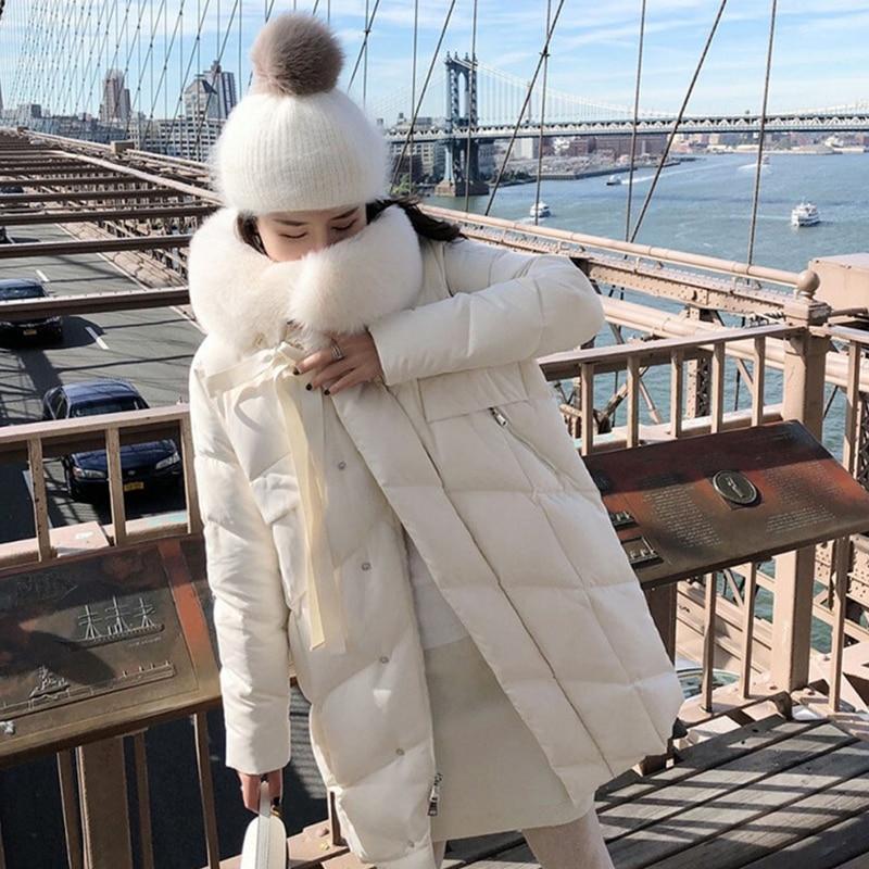 Image 2 - FTLZZ Large Real Natural Fox Fur Collar White Duck Down Coat  Winter Jacket Women Down Long Parkas Female Thick Snow OuterwearDown  Coats