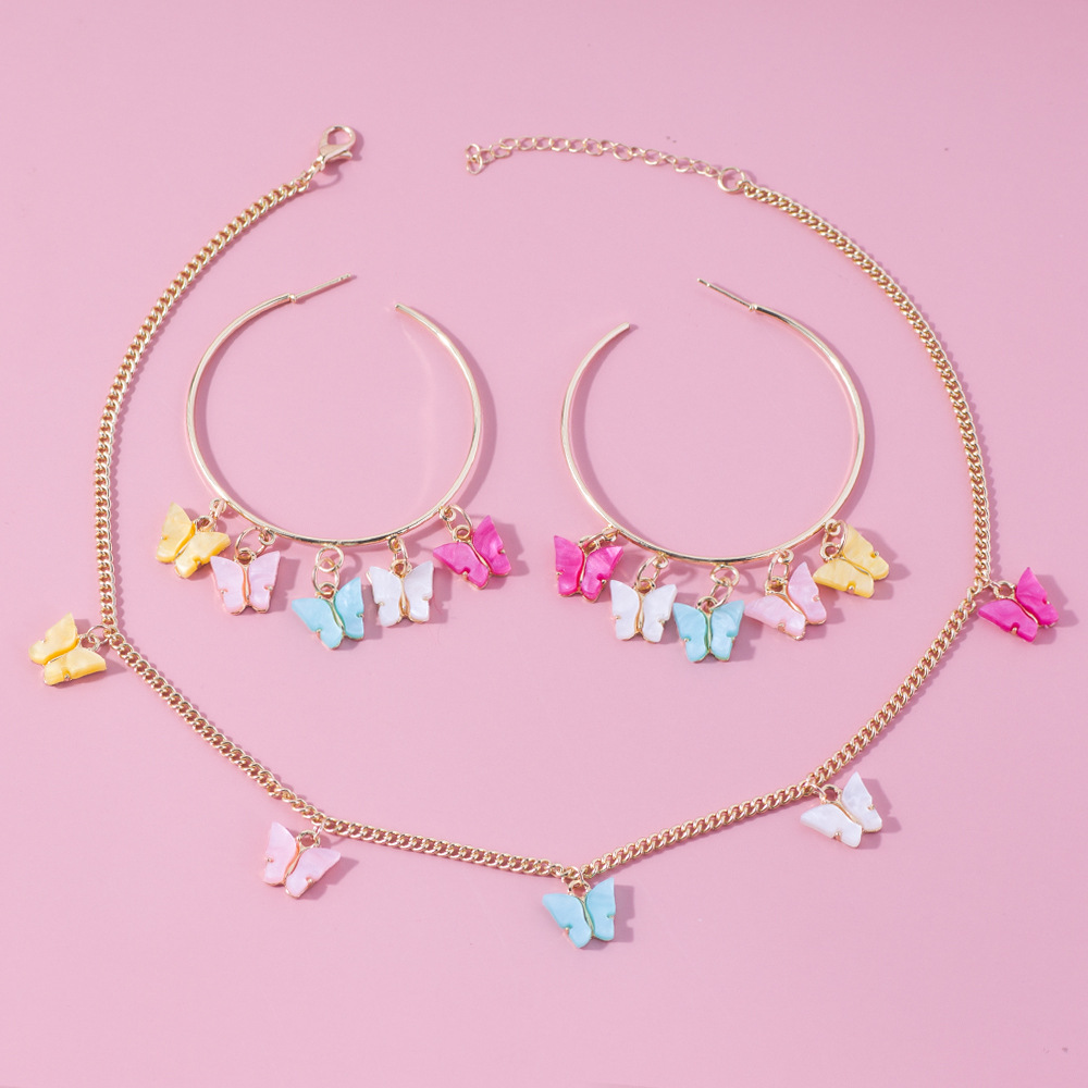 2020 New Women's Two Piece Acrylic Butterfly Earrings Set Necklace Set Stud Set For Girls Buzhitriy Girl For Women Trend Jewelry