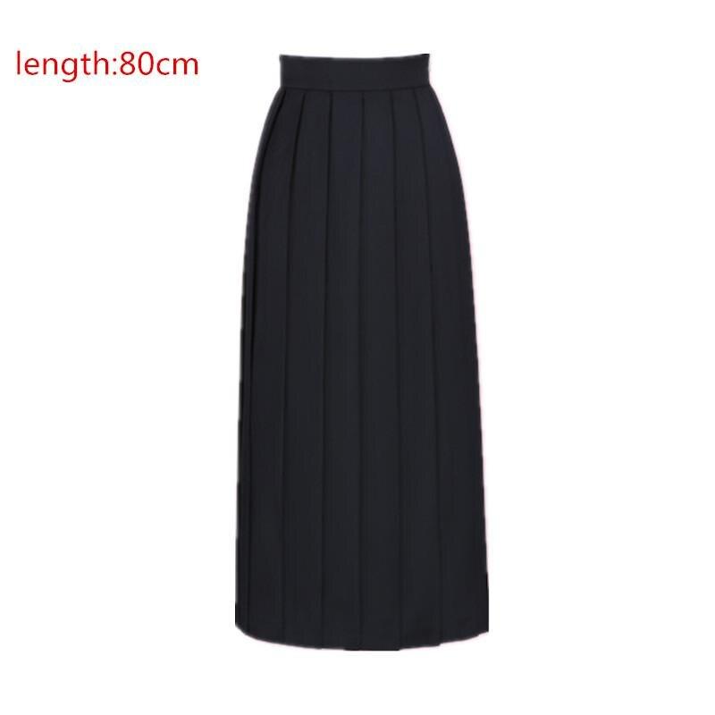 Японская школьная форма для девочек, регулируемая однотонная плиссированная юбка, 90 см, Jk, черный, темно-синий цвет, для старшеклассников, для студентов, в школьном стиле - Цвет: black skirt 80cm