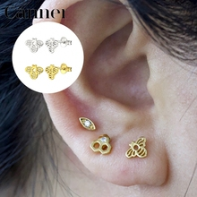 S925 Sterling Silver Stud Earrings Cute Hollow Bee Earrings For Girl Gift Women Fashion Jewelry W3 spe javier gold silver adorable bumble bee insect shaped stud earrings animal jewelry for women girl gift stud earrings