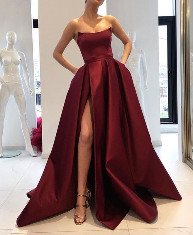 Burgundy   Prom     Dress   2019 A-line Scoop Slit Sexy Formal Long   Prom   Gown Evening   Dresses   Robe De Soiree