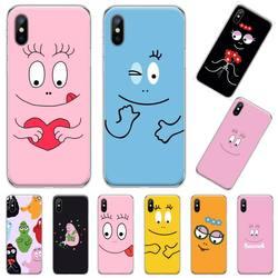 Barbapapa-funda de teléfono con dibujos animados para iPhone, protector de móvil rosa con bonitos dibujos para iPhone 11 12 pro XS MAX 8 7 6 6S Plus X 5S SE 2020 XR