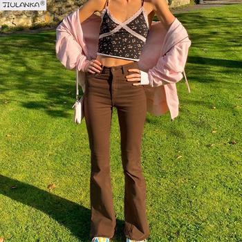 Damskie spodnie rozkloszowane brązowe dżinsy kobieta wysokiej talii czarne dżinsy brązowe spodnie niezdefiniowane spodnie dla kobiet Jean kobiety odzież spodnie tanie i dobre opinie JIULANKA COTTON Poliester Pełnej długości CN (pochodzenie) Osób w wieku 18-35 lat Flared brown pants JEANS WOMEN Streetwear
