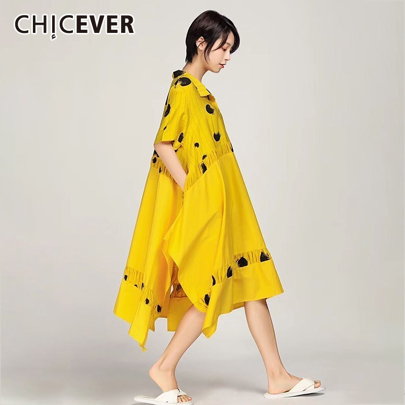 CHICVEVER Spring Striped Patchwork Dot Asymmetrical Women Dress Lapel Short Sleeve Lapel Short Sleeve Loose Plus Size Dresses
