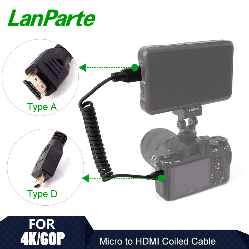 Lanparte High Speed Micro to Standard HDMI 2.0 Coiled Cable for 4K 60P for SONY A7R4 A7M3 A9 DSLR Camera Accessories for Atomos Photo Studio Accessories    - title=
