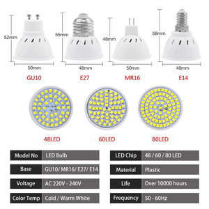 Image 3 - 10Pcs/Lot Lampada LED Bulb MR16 GU10 E27 E14 Bombillas LED Lamp 220V 240V 2835 SMD 48 60 80 LED Spotlight  Indoor Lightint