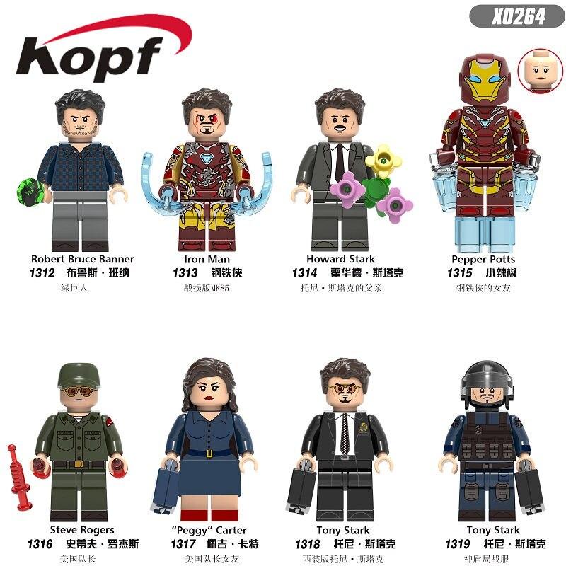 X0264 Single Sale Super Heroe Building Blocks Iron Man Robert Bruce Banner Howard Stark Pepper Bricks Figures For Kids Toys