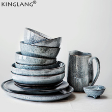 KINGLANG Japanese Retro Tableware Set Household Ceramic Dish Bowl Cup Dish Plate Sets