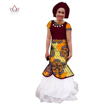 New African Dresses For Women Lace O-neck African Pearl Long Dresses Dashiki Party Print Plus Size 6xl African Clothes WY2644